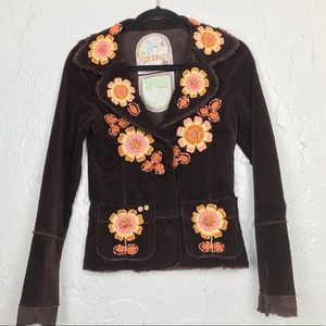 Joystick Embroidered Floral Cord Jacket